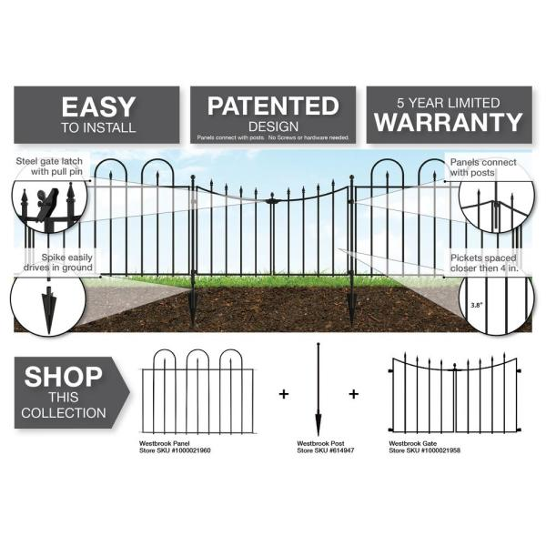 Vigoro Empire Westbrook 28 In Black Steel Decorative Fence Gate 860176 The Home Depot