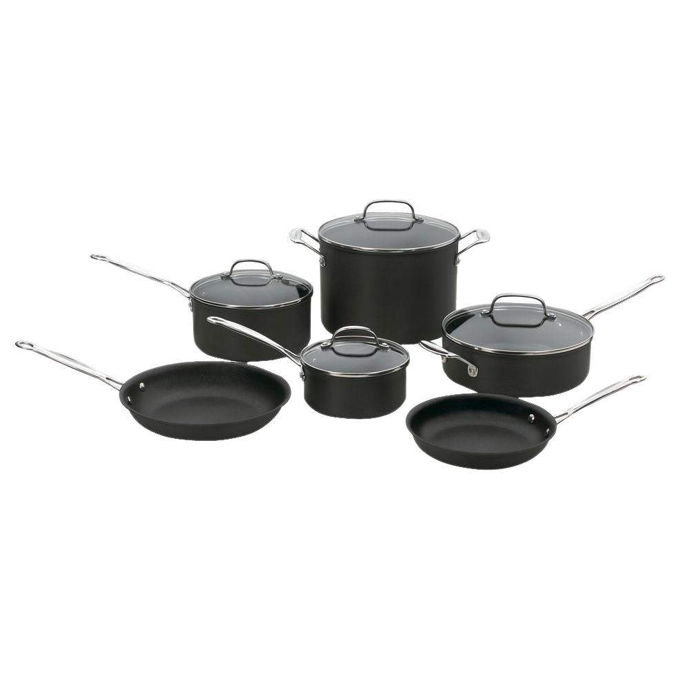 Cuisinart Chef's Classic Hard Anodized 10 Piece Black Cookware Set with Lids