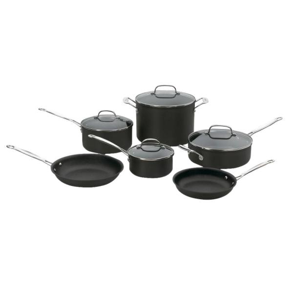 Cuisinart Chef's Classic Hard Anodized 10 Piece Black Cookware Set with