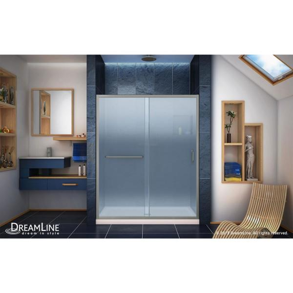 Dreamline Infinity Z 34 In X 60 Frameless Sliding Shower Door In Brushed Nickel With Center Drain Shower Base In Biscuit Dl 6972c 22 04f The Home Depot
