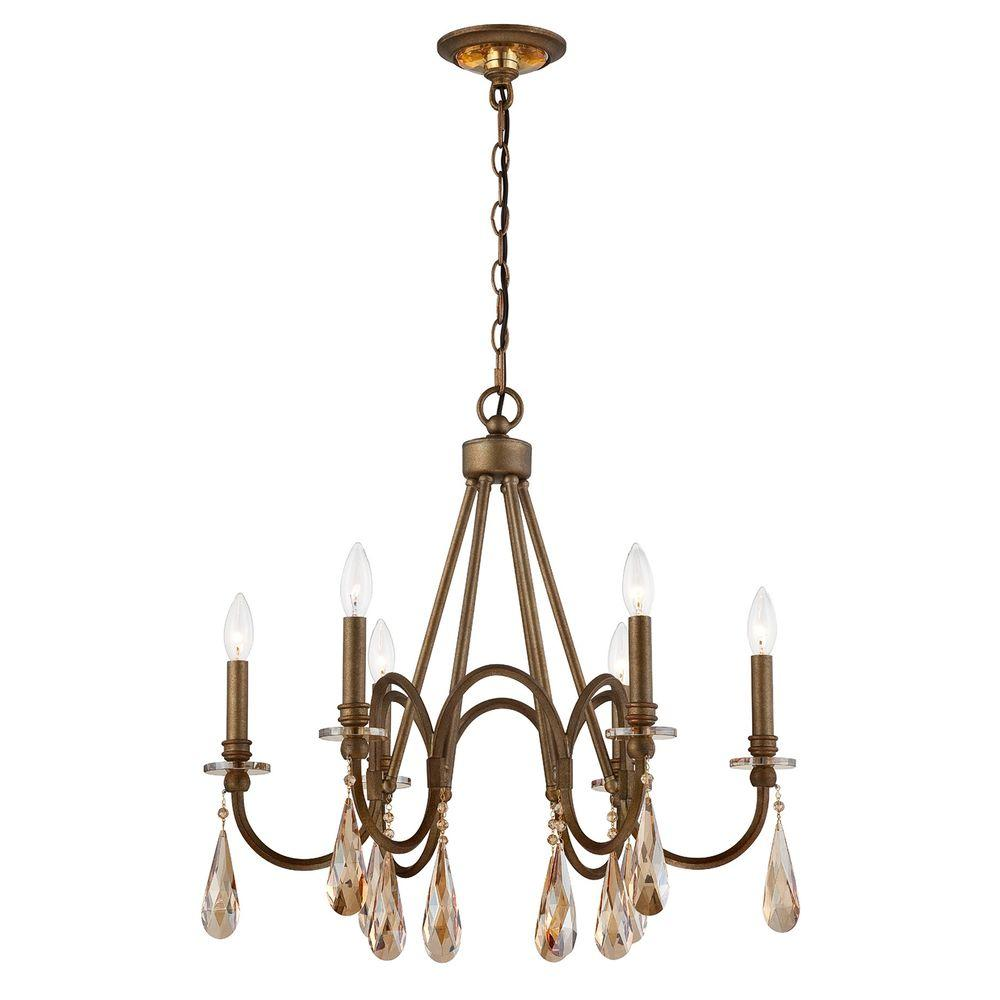 Home Decorators Collection 6 Light Bronze Chandelier 25659 Hbu The Home Depot