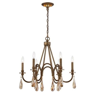 6-Light Bronze Chandelier with Oversized Crystal Drops