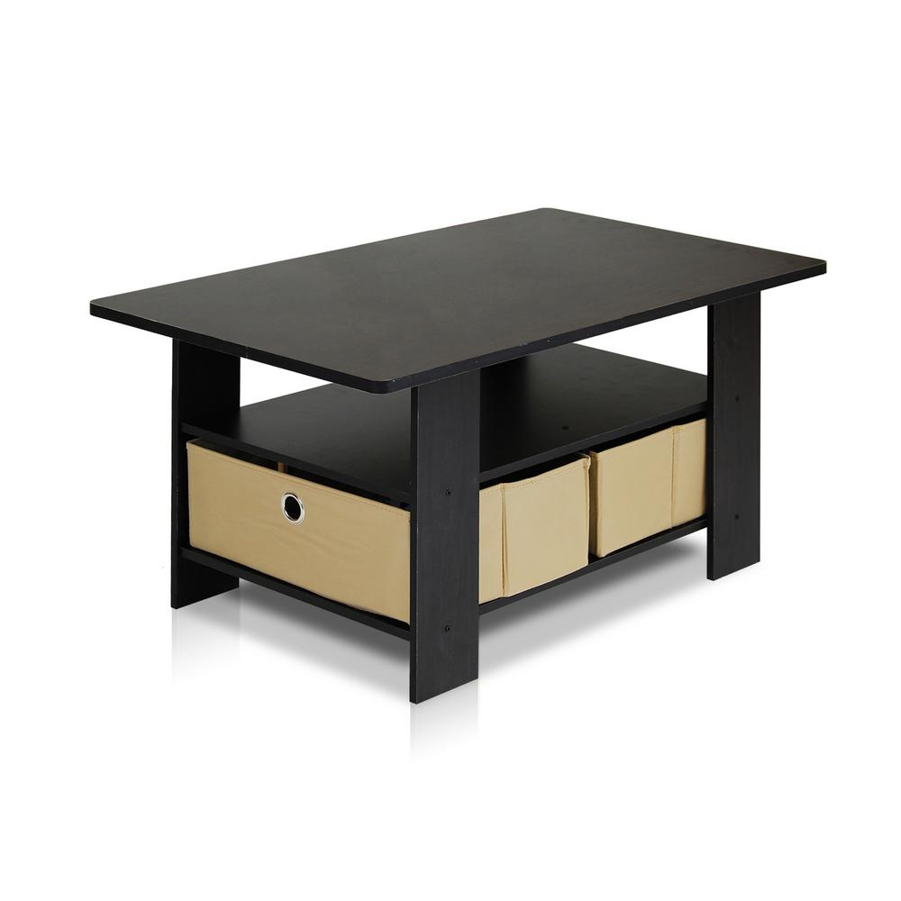Home Living Espresso and Brown Built-In Storage Coffee Table
