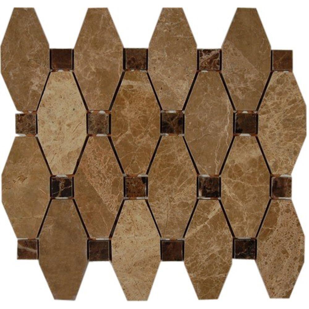Splashback Tile Artois Pattern Hexagon Light Emperador With Dark Emperador Dot 12 in. x 12 in. x 8 mm Marble Mosaic Floor and Wall Tile