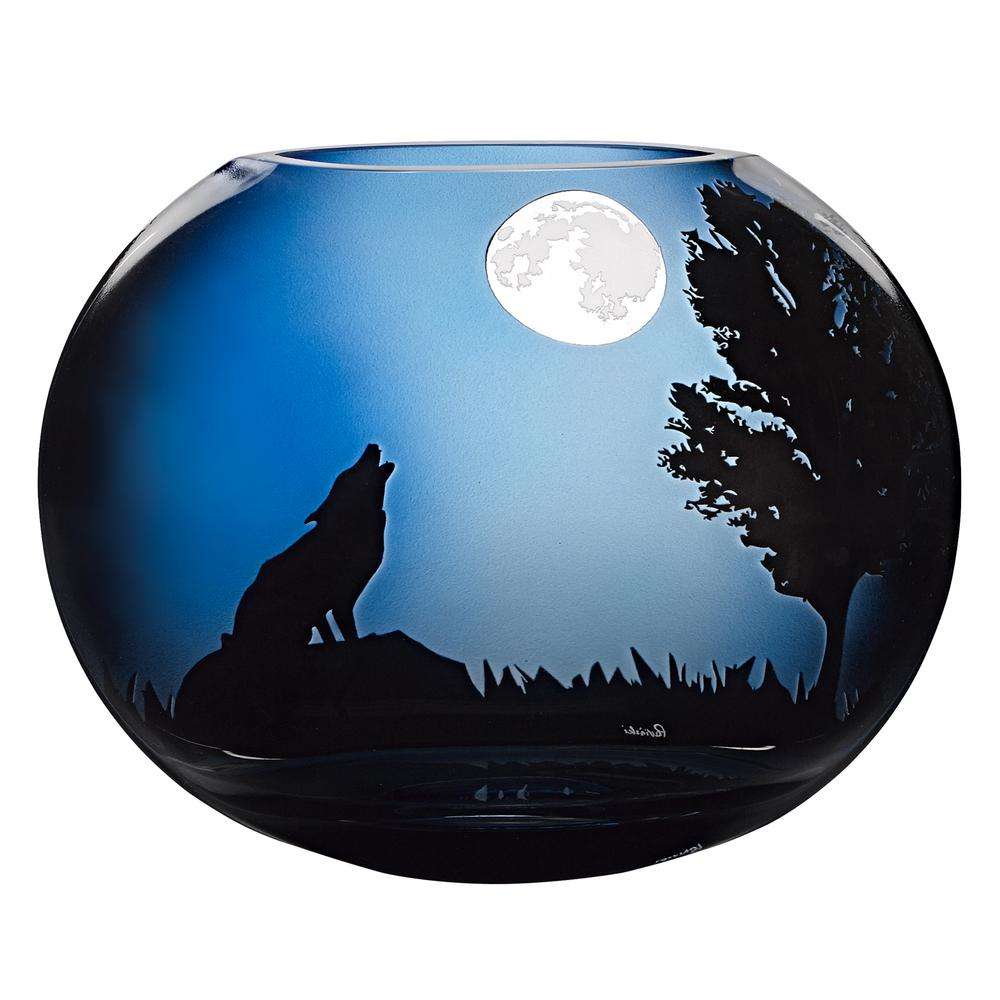 Howling Wolf 9 in. Midnight Blue European Mouth Blown Decorative Vase