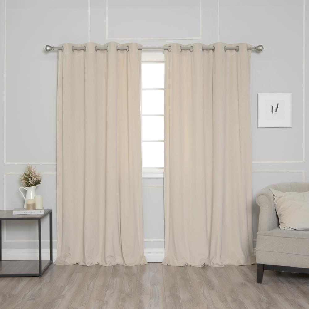 Beige 96 in. L Room Darkening Luster Velvet Grommet Curtain Panel