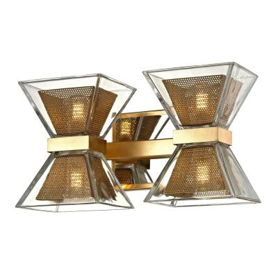 Expression 4-Light Gold Leaf 12.5 in. W LED Bath Light with Clear Glass Shade