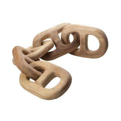 6 in. x 27 in. Hand Carved Chain Link Figurine in Natural Wood