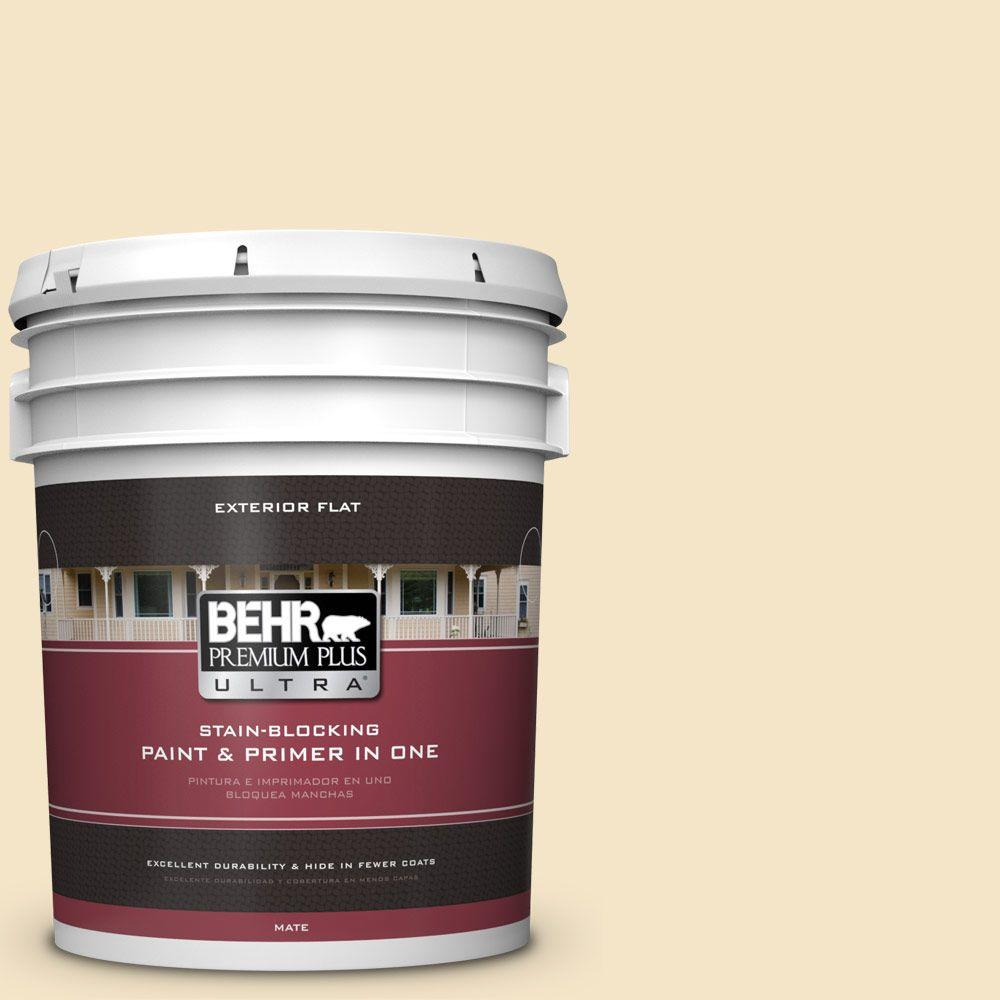 BEHR Premium Plus Ultra 5-gal. #340E-2 Cottonseed Flat Exterior Paint