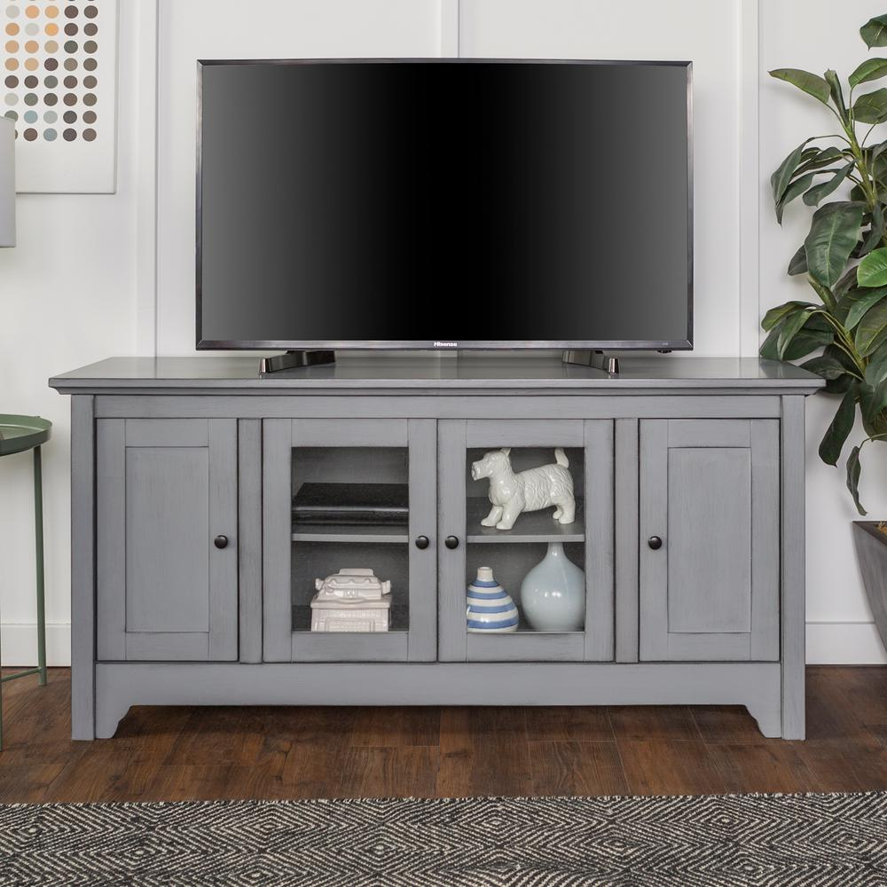Incroyable Walker Edison Furniture Company 52 In. Antique Grey Storage Console Wood  Media TV Stand