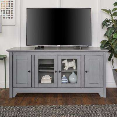 52 in. Antique Grey Storage Console Wood Media TV Stand