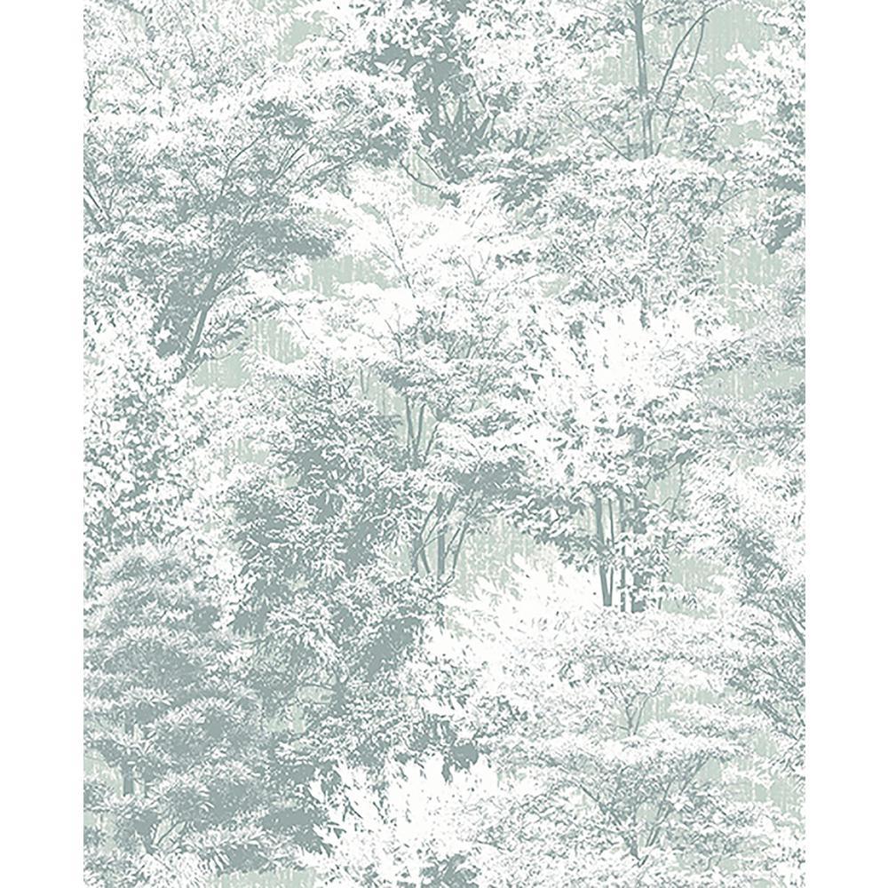 56.4 sq. ft. Camphor Teal Trees Wallpaper