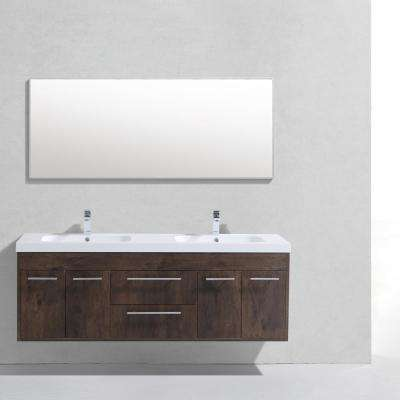 Lugano 60 in. W x 19 in. D x 34 in. H Vanity in Rosewood with Acrylic Vanity Top in White with White Double Basin