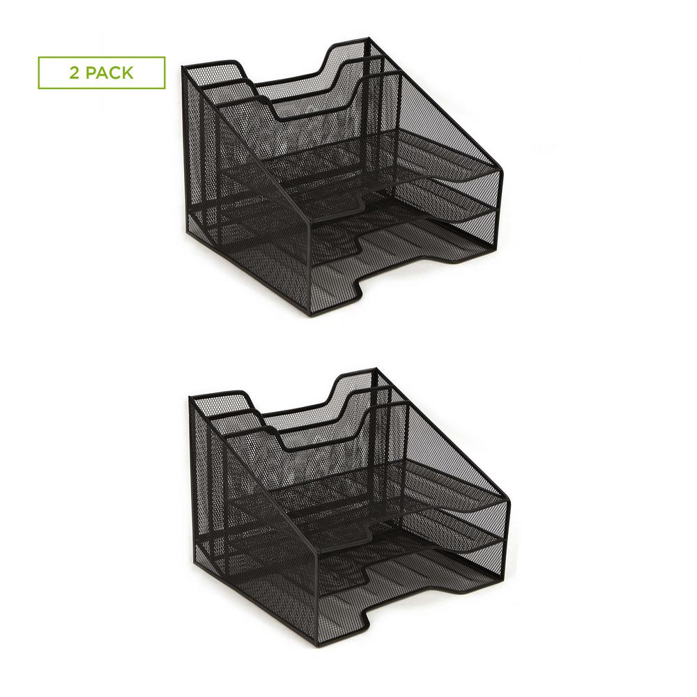 5-Tray Desk Organizer with Layers for Folders, Papers, Letters, Black (2-Pack)