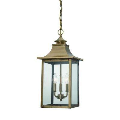St. Charles Collection Hanging Outdoor 3-Light Aged Brass Light Fixture