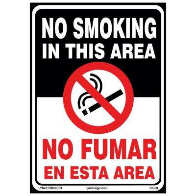 10 in. x 14 in. No Smoking Bilingual Sign Printed on More Durable Longer-Lasting Thicker Styrene Plastic.
