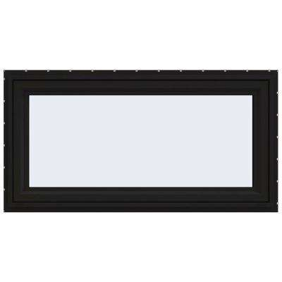 48 in. x 24 in. V-4500 Series Black FiniShield Vinyl Awning Window with Fiberglass Mesh Screen
