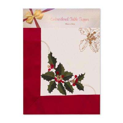 Holiday Embroidered Holly Berries Square 36 in. Tablecloth Topper with Red Trim Border