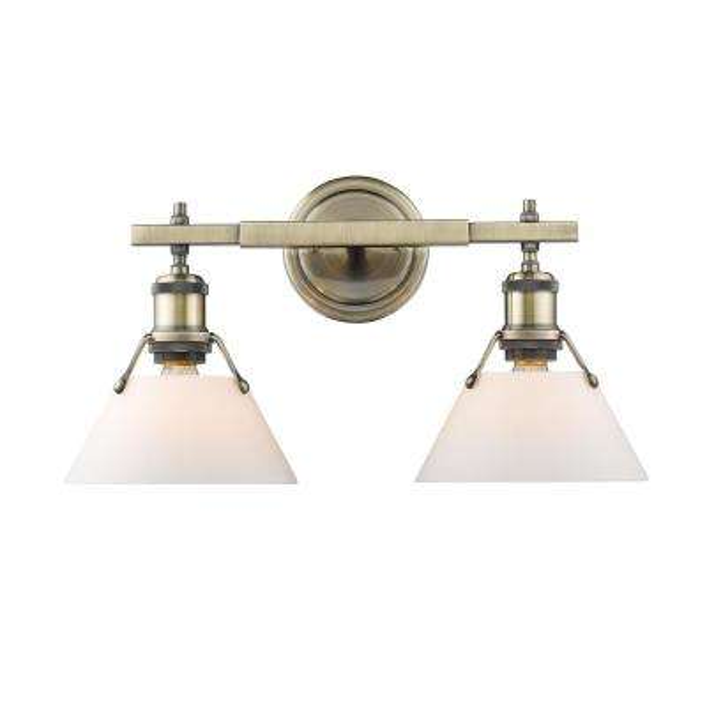 Orwell AB 2-Light Aged Brass Bath Light with Aged Brass Shade