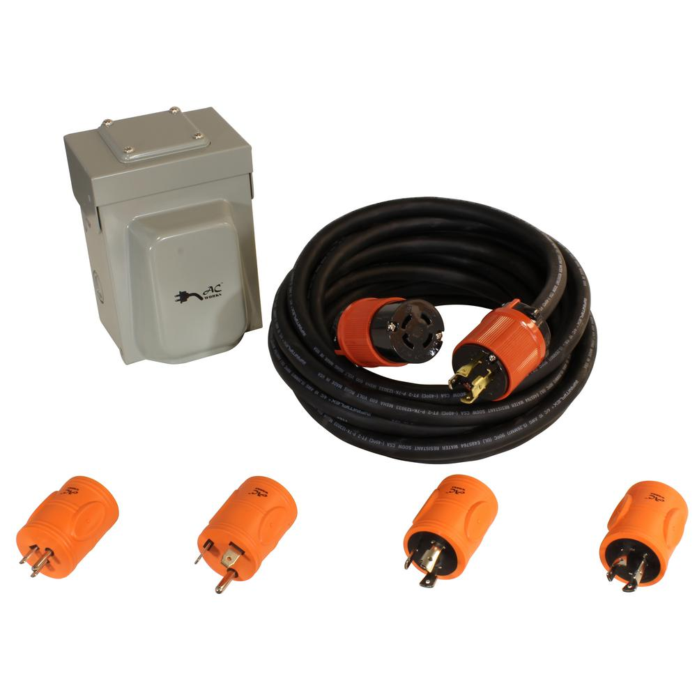 AC WORKS Generator Emergency Power Kit Come with L14-30 Inlet Box, Generator Cord and Multiple Adapters This AC WORKS brand electric generator L14-30 inlet kit can get power from any style generator. The kit includes 4 adapters to work with a 25FT L14-30 extension cord. The adapters include the NEMA 5-15P, 15 Amp, household plug, the NEMA L5-30P, 30 Amp, 125-Volt generator locking plug, the NEMA TT-30P, 30 Amp, 125-Volt RV/Trailer outlet, the NEMA L14-20P, 20 Amp, 125/250-Volt generator locking plug and a 25 ft. NEMA L14-30P, 30 Amp, 125/250-Volt generator rubber locking extension cord. There are 5 total solutions to get power from any generator to your NEMA L14-30 30 Amp household power input inlet box. Included with your purchase is a 5-year limited warranty.