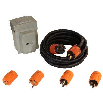 Generator Emergency Power Kit Come with L14-30 Inlet Box, Generator Cord and Multiple Adapters