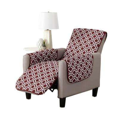 Liliana Collection Oxblood Red Printed Reversible Recliner Furniture Protector