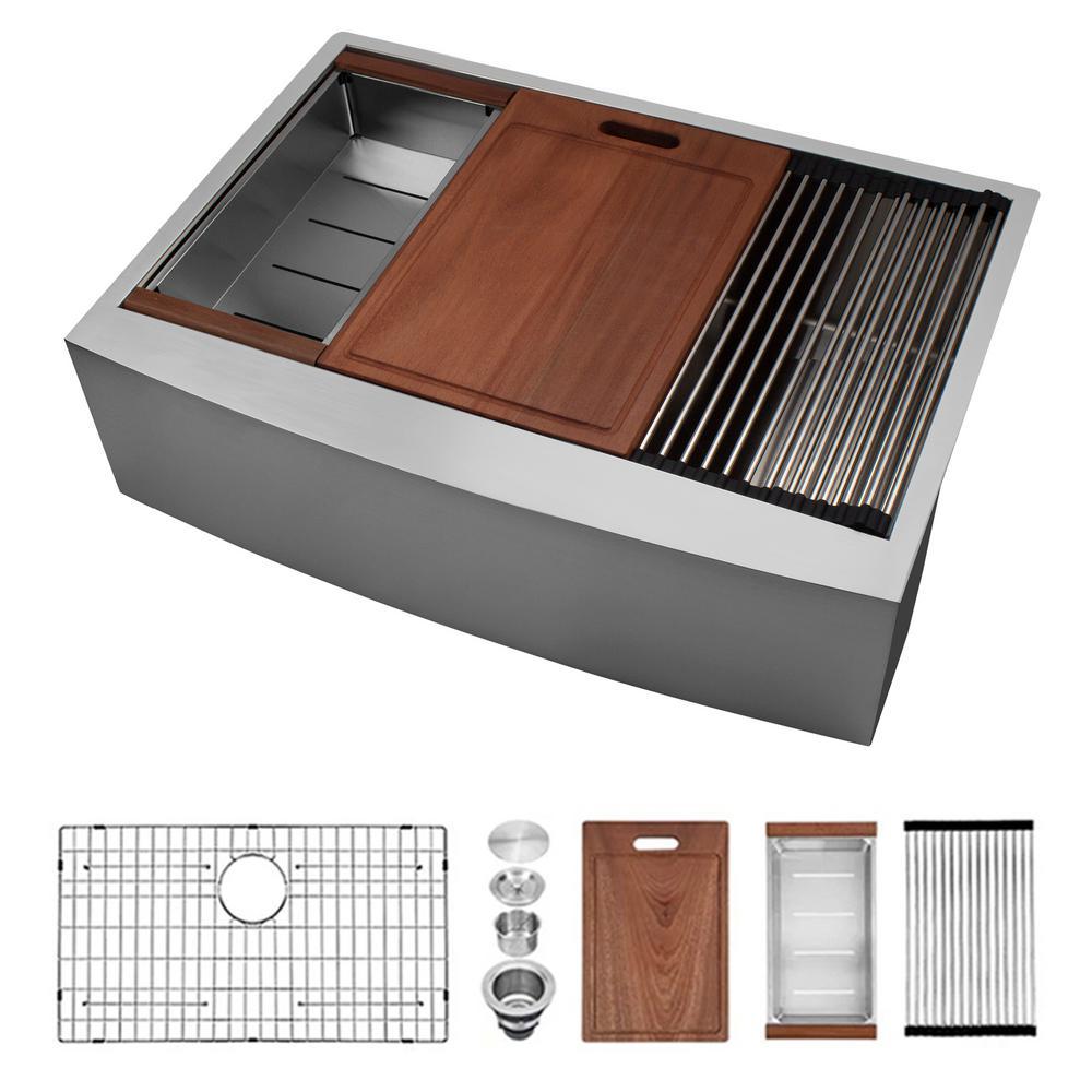 Stainless Steel 33 in. Single Bowl Farmhouse Apron Ledge Workstation Kitchen Sink