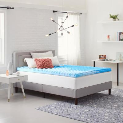 2 in. Reversible Convoluted Queen Size Memory Foam Mattress Topper