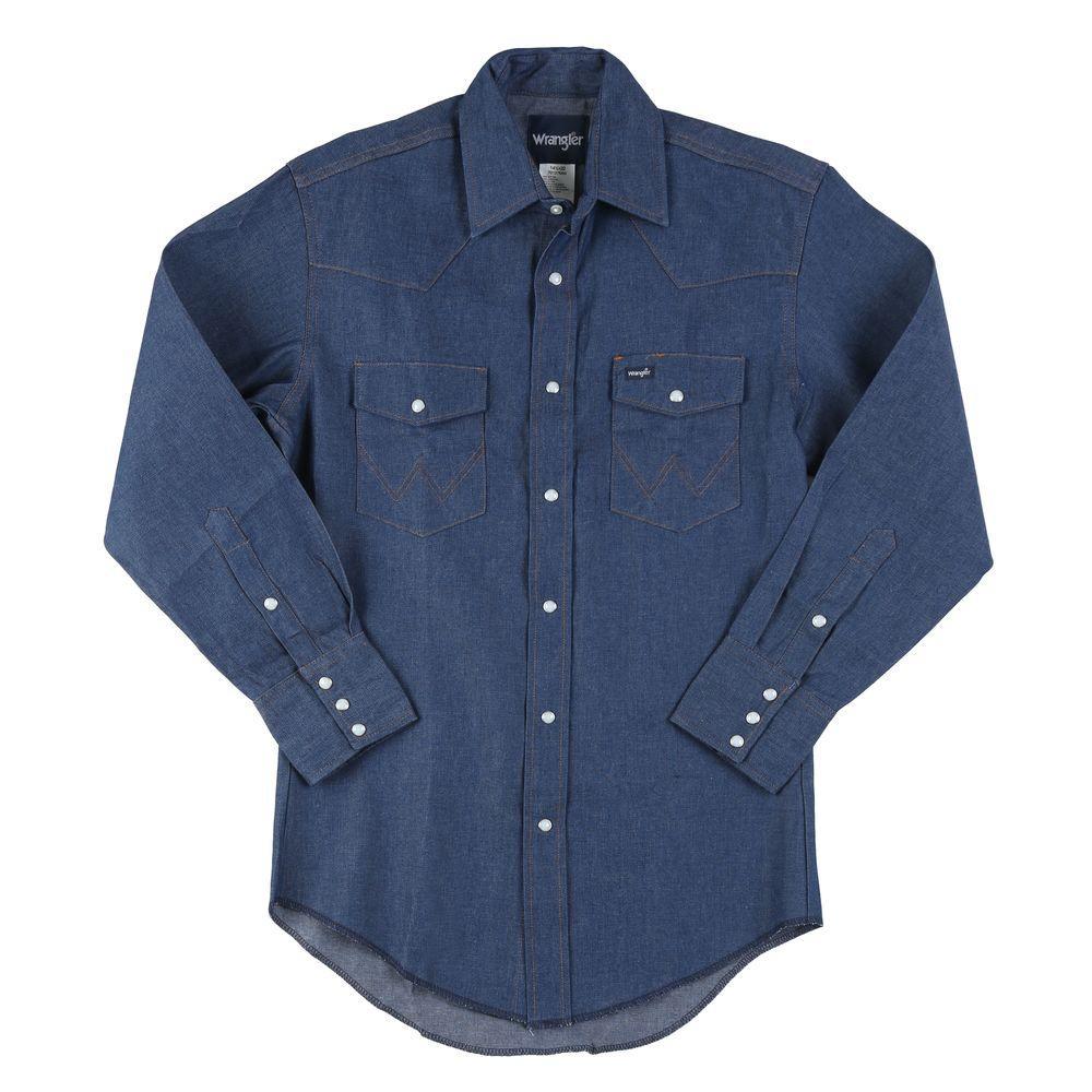 2813b191fec0 Wrangler 17 in. x 36 in. Men's Cowboy Cut western Work Shirt-70127MW ...