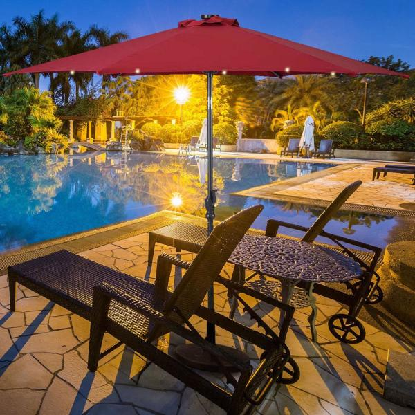 Boyel Living 10 Ft Steel Cantilever Patio Umbrella With Crank And Led Lights In Burgundy Wf Op2805bug The Home Depot