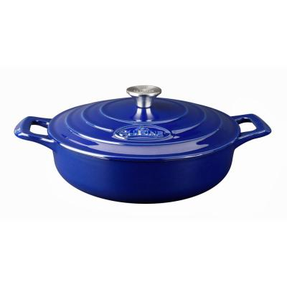 PRO Saute 3.75 Qt. Cast Iron Casserole with Enamel in High Gloss Sapphire