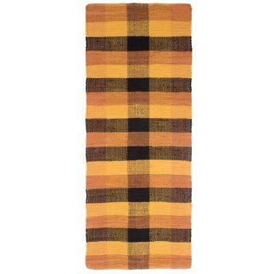 Chindi Plaid Yellow Brick 2 ft. x 5 ft. Runner