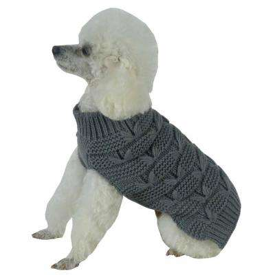 Medium Dark Grey Butterfly Stitched Heavy Cable Knitted Fashion Turtle Neck Dog Sweater