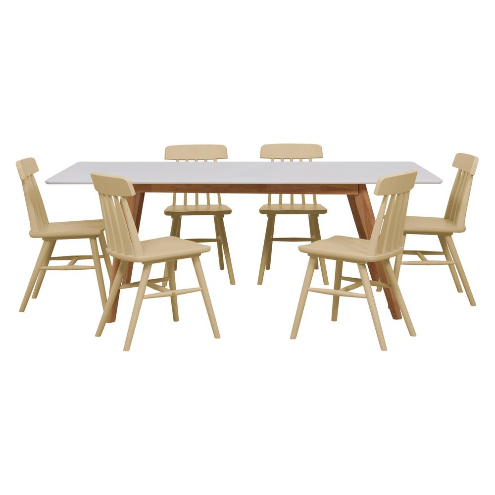 Handy Living Windsor 7 Piece Dining Set With White Topped Rectangle Table And Armless Wood