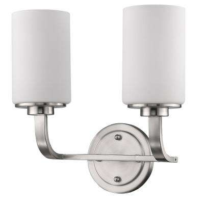 Addison 2-Light Satin Nickel Vanity Light with Etched Glass Shades