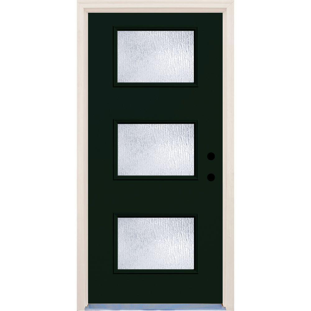 Builder's Choice 36 in. x 80 in. Fairway 3 Lite Rain Glass Painted Fiberglass Prehung Front Door with Brickmould