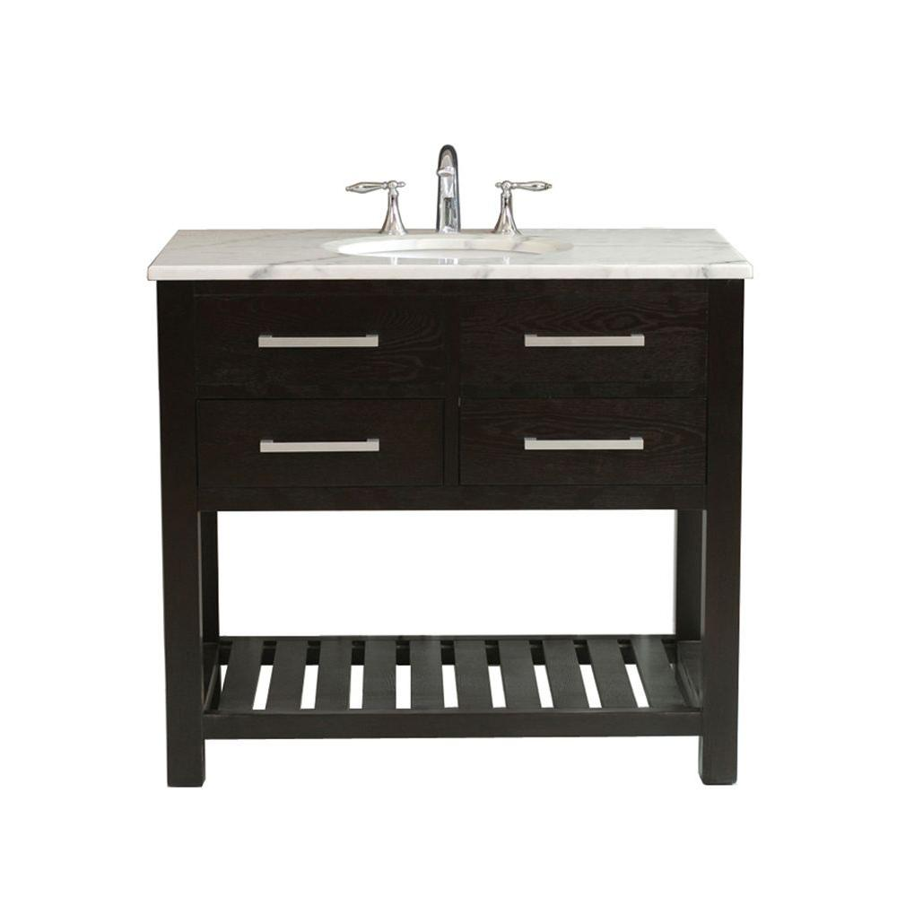 Virtu USA 40 in. Single Basin Vanity in Dark Espresso with Marble Vanity Top in White-DISCONTINUED