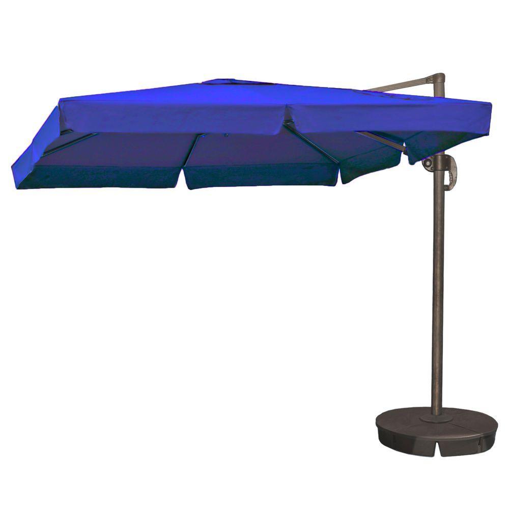 Santorini II 10 ft. Square Cantilever Patio Umbrella with Valance in Blue Sunbrella Acrylic