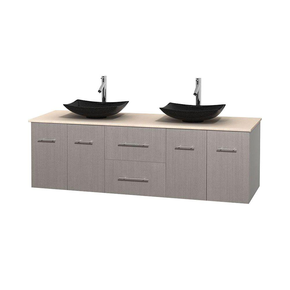 Wyndham Collection Centra 72 in. Double Vanity in Gray Oak with Marble Vanity Top in Ivory and Black Granite Sinks