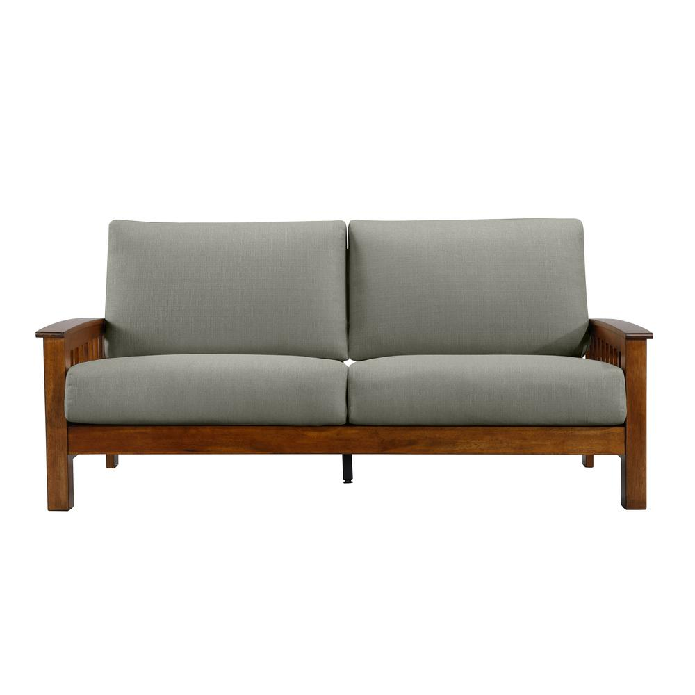 Handy Living Omaha Dove Gray Linen Mission Style Sofa With Exposed