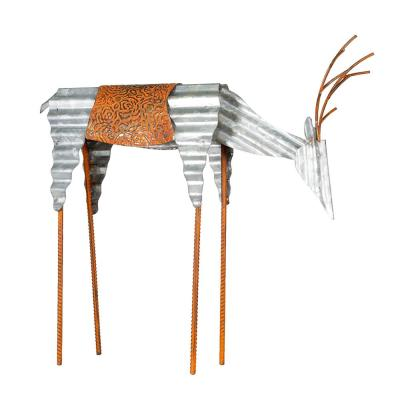 20 in. Tall Metal Rustic Grazing Reindeer Christmas Decoration