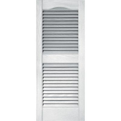15 in. x 36 in. Louvered Vinyl Exterior Shutters Pair in #001 White