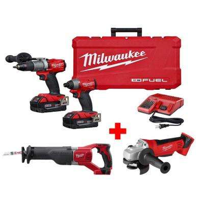 M18 FUEL 18-Volt Lithium-Ion Brushless Cordless Combo Kit (2-Tool) w/ Free Cut-Off/Grinder and SAWZALL Reciprocating Saw