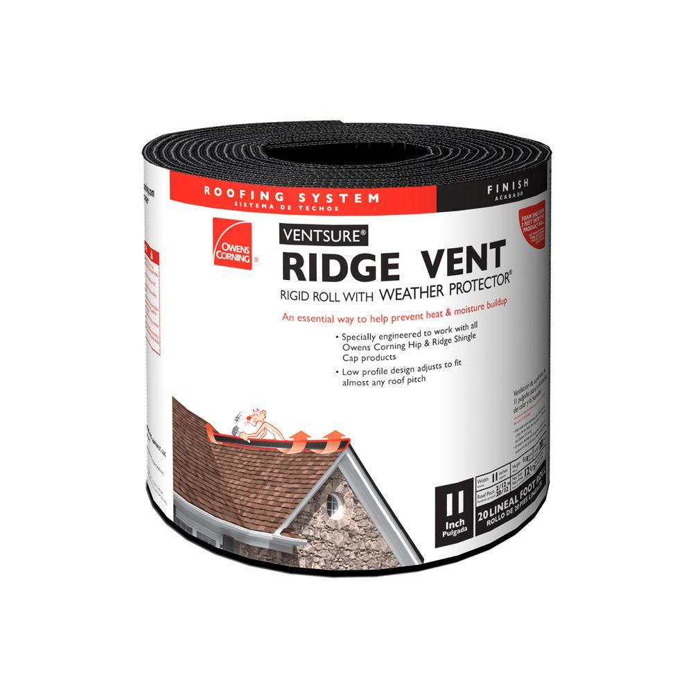 Owens Corning VentSure 11 in. x 20 ft. Ridge Vent Rigid Roll with Weather PROtector Moisture Barrier