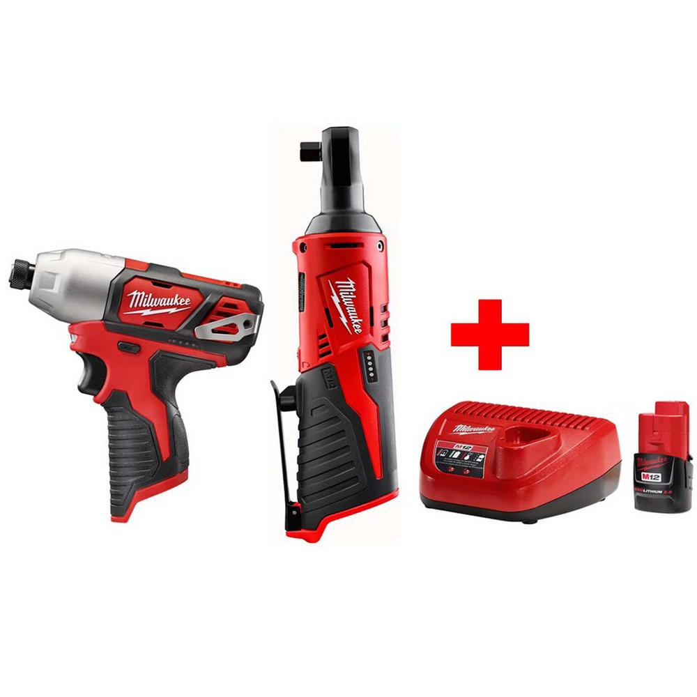 M12 12 Volt Lithium Ion Cordless 3 8 In Ratchet And 1 4 Impact Driver Combo Kit With 2 0ah Battery Charger