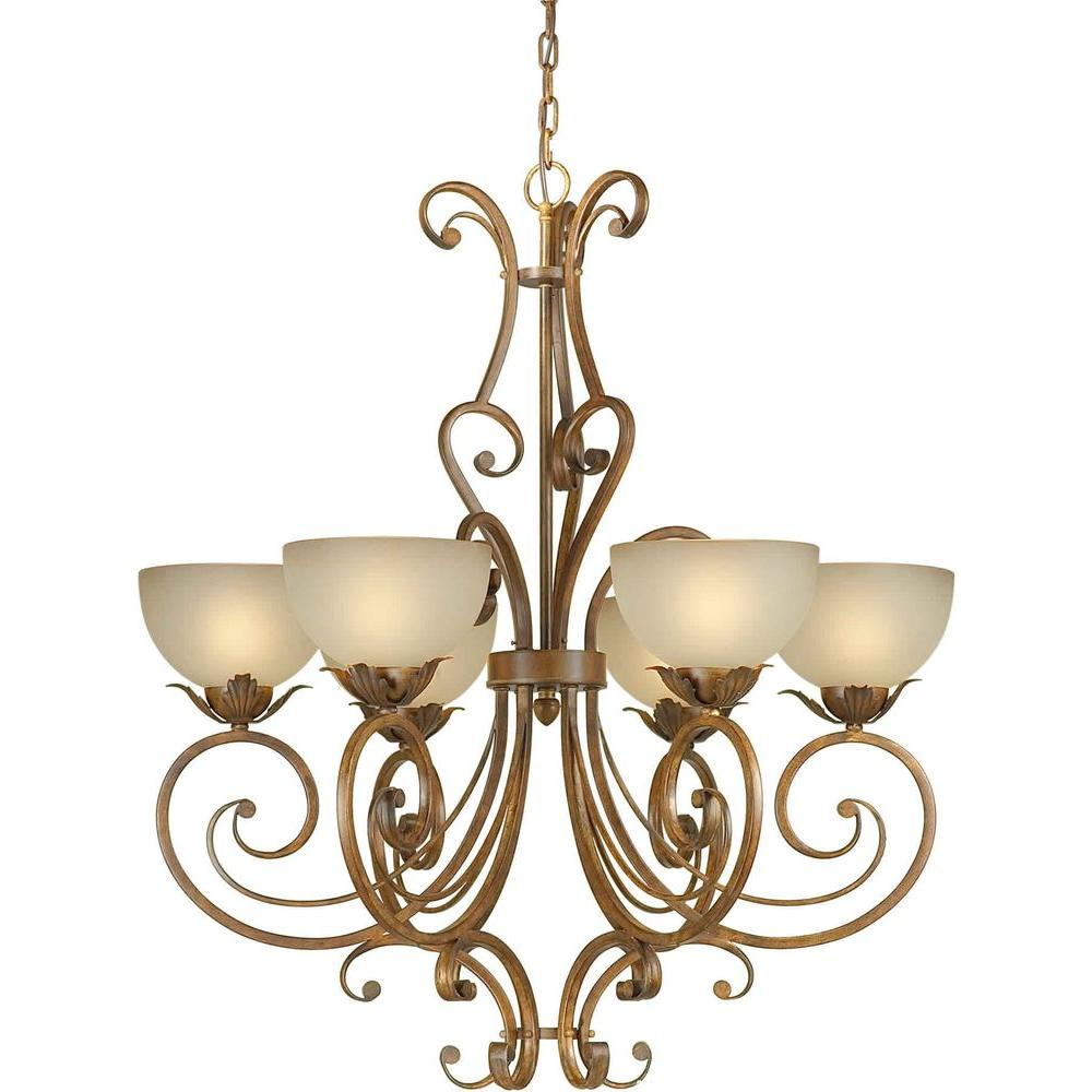Talista 6-Light Rustic Sienna Chandelier with Shaded Umber Glass Shade