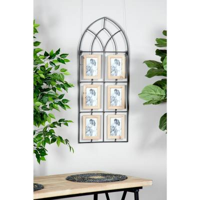 Litton Lane 4 in. x 6 in. Wood and Metal Picture Frames Photo Display Wall Decor with Cathedral Frame and 6 Photo Holders,...