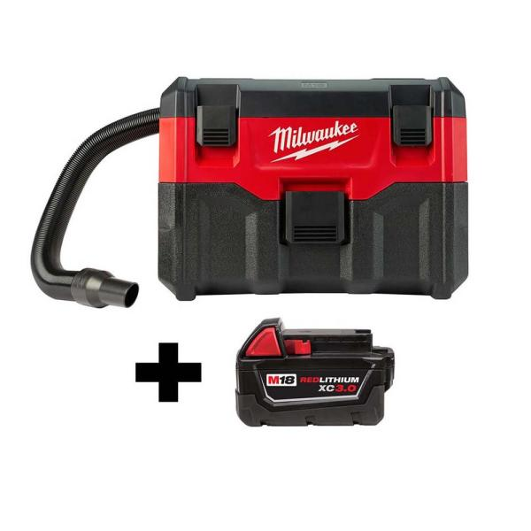 Milwaukee M18 18-Volt 2 Gal. Lithium-Ion Cordless Wet/Dry Vacuum with Free M18 3.0 Ah Battery