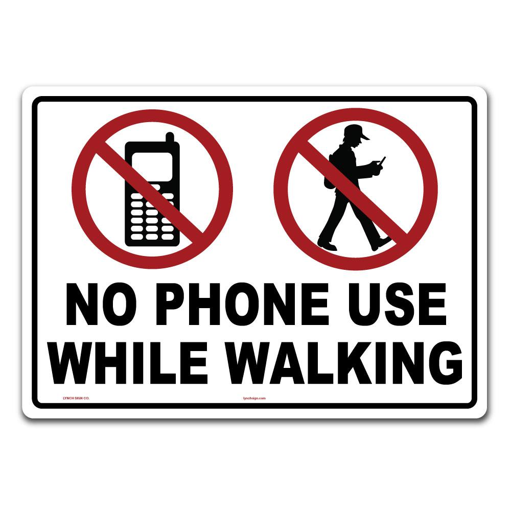 lynch sign 14 in x 10 in no phone use while walking sign printed