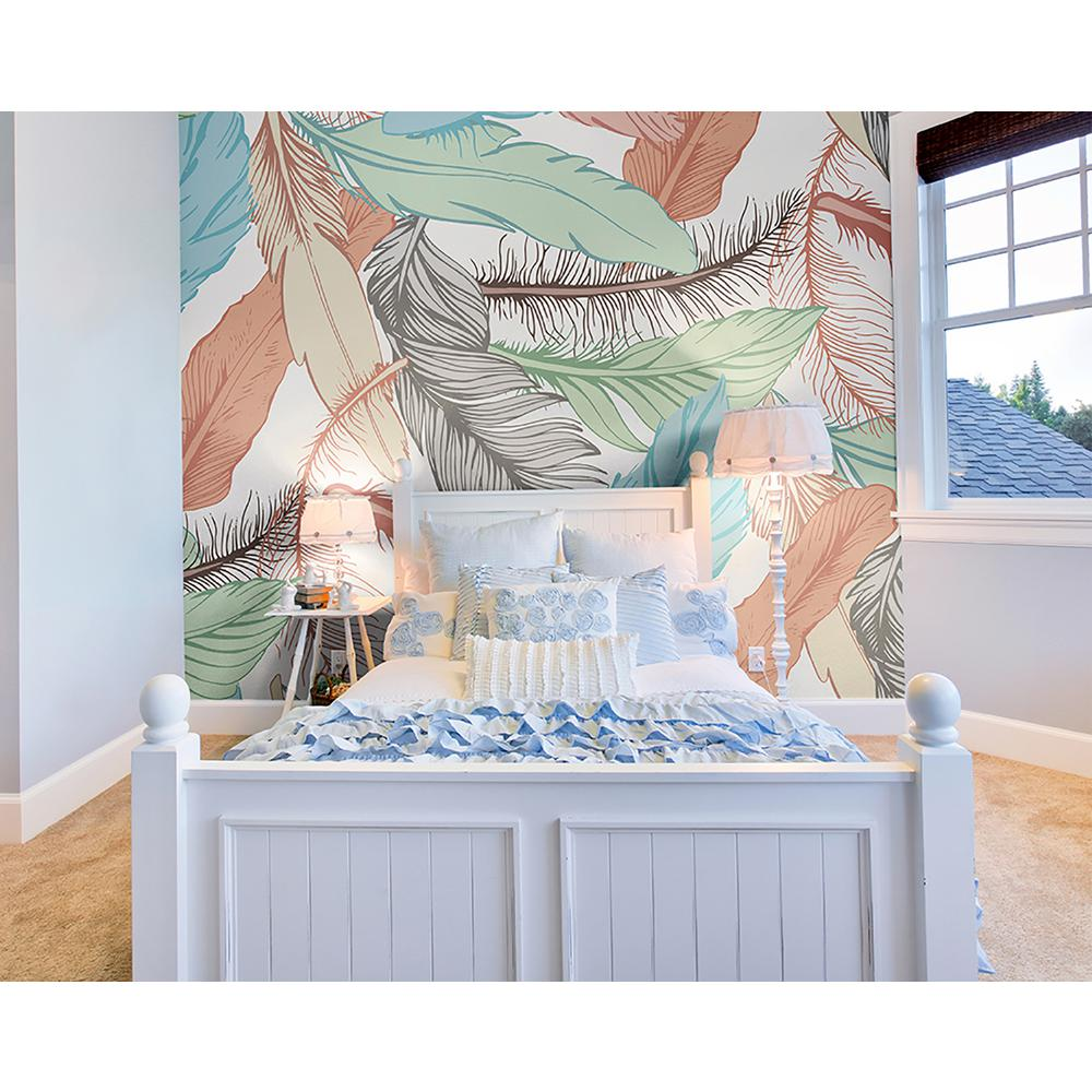 Pastel Feathers Wall Mural